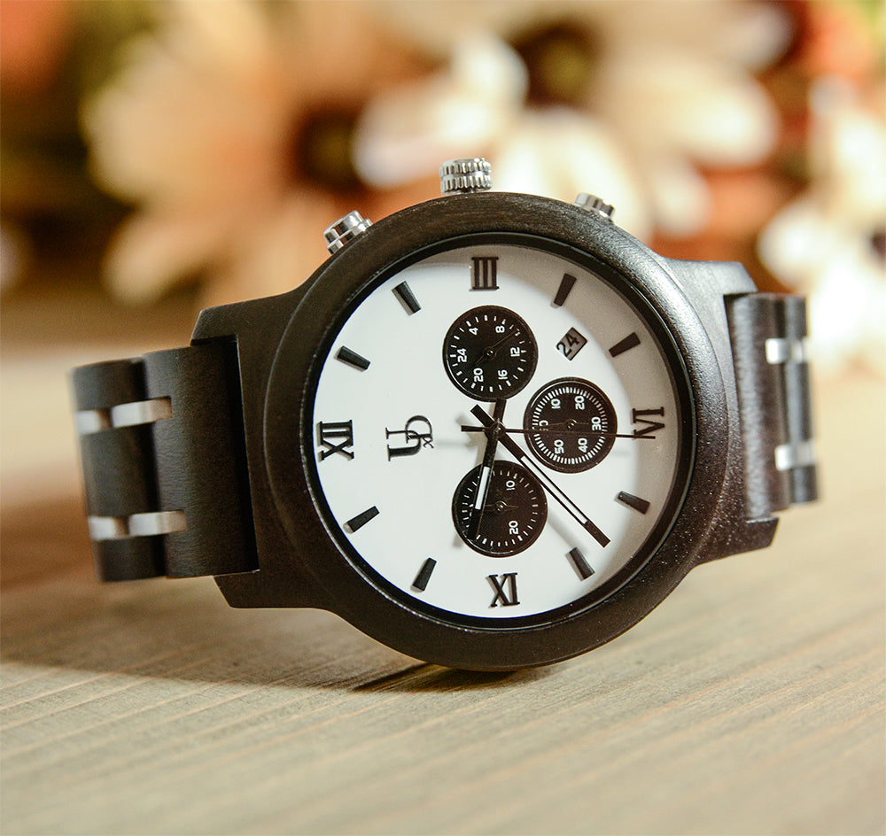Men's Chronograph Wood Watch With Wood & Stainless Steel Combined Watch Band