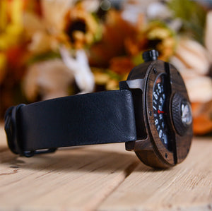 Handmade Compass Wooden Watch For Men Leather Strap
