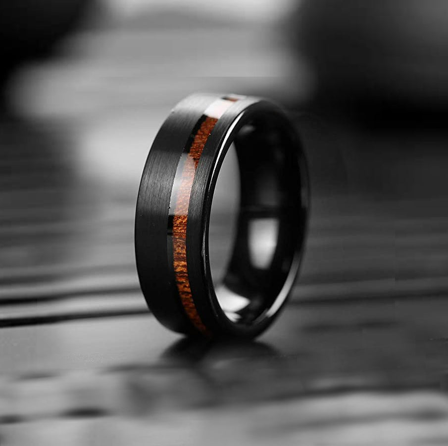 Mens 8mm Black Tungsten Carbide Wooden Ring Matte Brushed