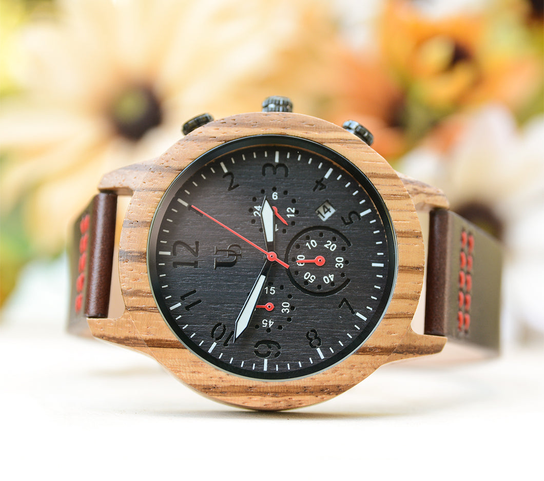 Personalized Men's Chronograph Zebra Wooden Watch With Premium Leather Band