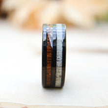 Wood Rings - Antler and Wood Inlay Black  Tungsten Ring