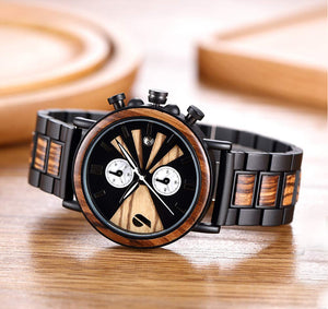 Ebony Wood & Stainless Steel Combined Chronograph Wood Watch