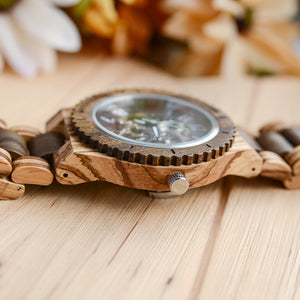 UD Premium Eco-Friendly Automatic Mechanical Wood Watch For Men Natural Durable Handcrafted Gift Idea for Him