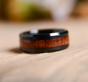 UD 8mm Mens Tungsten Wedding Bands with Koa Wood Inlay Black Tungsten Wood Ring