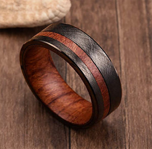 Mens Black Tungsten Carbide Wedding Band With Rosewood Inlaid