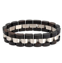 Dark Wooden Bracelet For Men Stylish Wood & Stainless Steel Combined