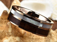 Mens Gold Plated Tungsten Carbide Ring Real KOA Wood Rare White Shell Inlay Wedding Band