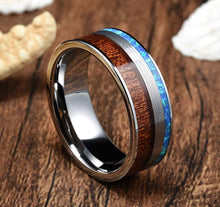 Mens Tungsten Carbide Wood Wedding Ring Blue Opal Inlay