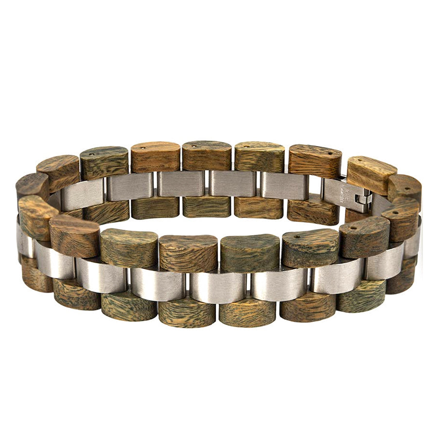 Mens Wooden Bracelet Stylish Vera Wood & Stainless Steel Combined Wooden Bangle