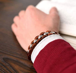 Mens Wooden Bracelet Stylish Wood & Stainless Steel Combined Cherry Wooden Bangle