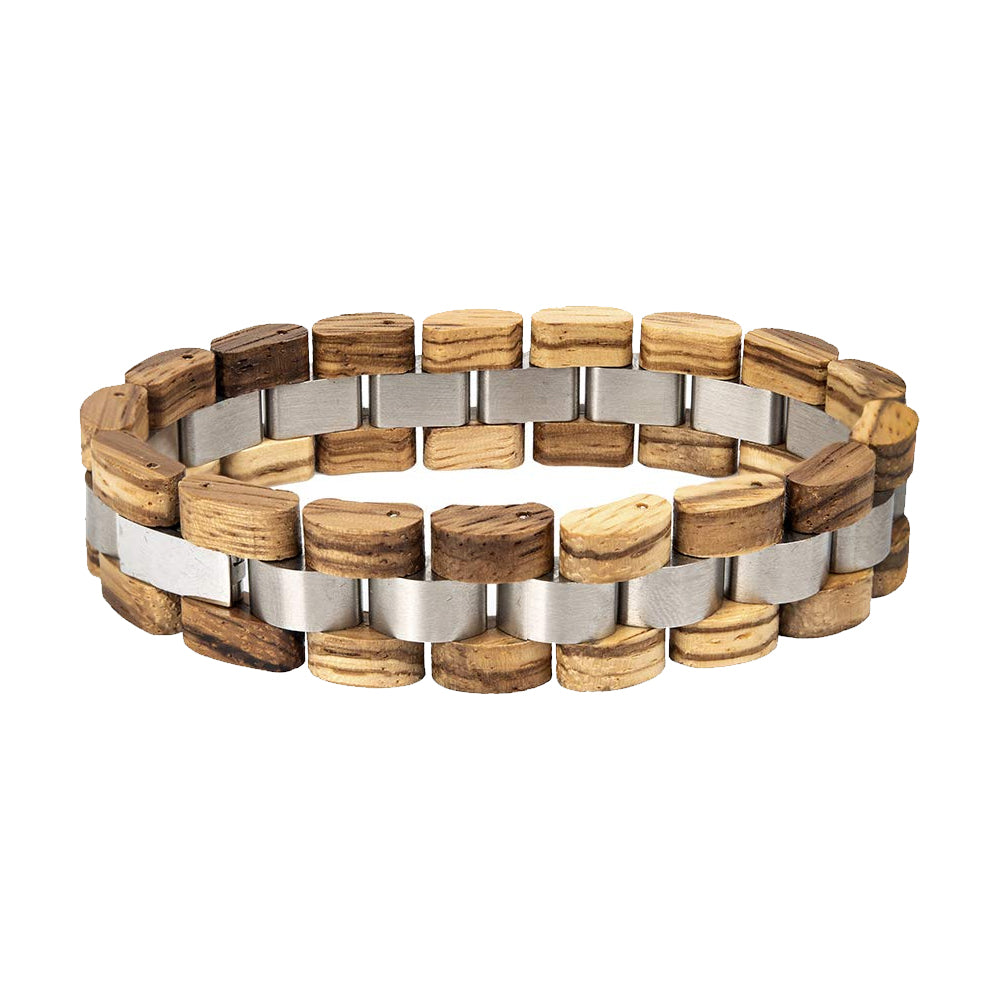 Mens Wooden Bracelet Stylish Wood & Stainless Steel Combined Wooden Bangle