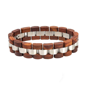 red wooden and metal bracelet for men