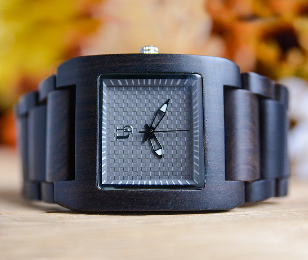 Mens engraved dark squared wood watch for men