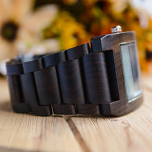 UD Personalized/Engraved Minimalist Exotic Dark Square Wooden Watch for Men
