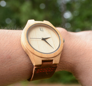 Minimalist Engraved Bamboo Watches With Premium Leather Band