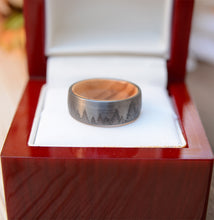 Mens Wedding Band Tungsten Ring Lasered Forest Landscape Men's Brushed Wedding Band with Olive Wood Sleeve