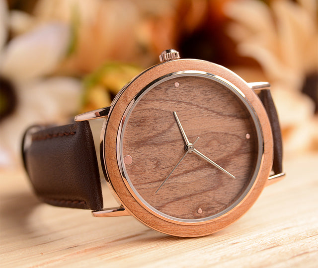 Minimalist stainless steel in silver natural wooden watch with premium leather band