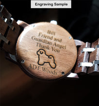 Men's Chronograph Wood Watch With Dark Wood & Stainless Steel Combined Watch Band