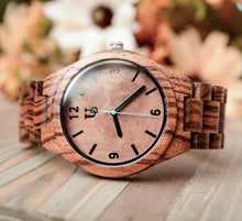 Personalized/Engraved Dark Round Wooden Watch With Natural Wood Face