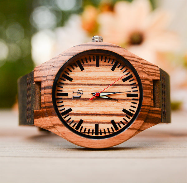 UD Personalized/Engraved Exotic Zebra Wood Face Watch with Genuine Leather Band