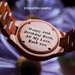 A wood watch used as a personalized birthday gift for him from Urban Designer.