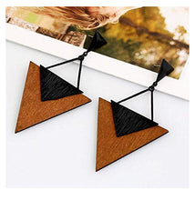 Wooden Earrings for Women - Big Triangle Geometric Wood Drop Dangle Hook Earrings