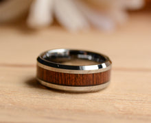Wood Wedding Band Set-Match His and Hers Tungsten Ring Set With Koa Wood Inlay