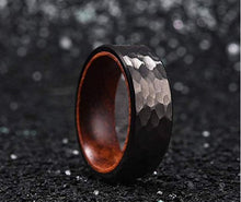 Black Tungsten Carbide Ring For Men Inner Hole Inlaid Wood Hammered Texture