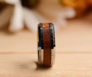 8 mm Tungsten Rings For Men with Koa Wood Inlay