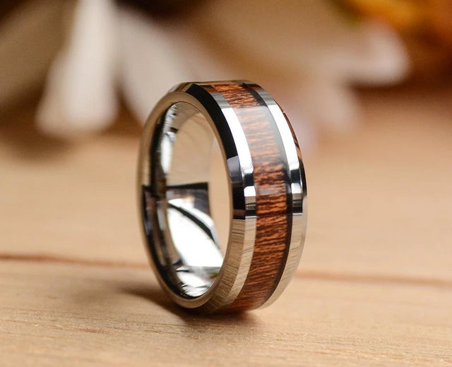 8mm Tungsten Carbide Ring with Koa Wood Inlay Wood Band