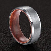 UDX Tungsten Wedding Rings for Men with Rosewood Sleeve Interior Comfort Fit