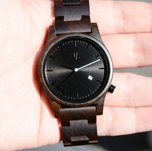 UDX Engraved Classic Dark Wooden Watch With Date Display