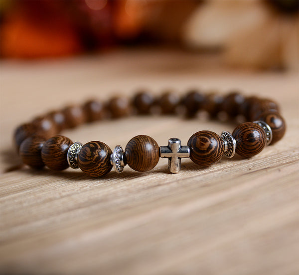 UD Meditation Prayer Wood Bead Bracelet Elastic Stretch