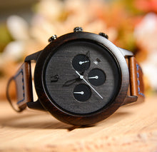 Personalized Mens Minimalist Dark Face Multi-Function Chronograph Round Wooden Watch with Premium Leather Band