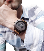 UD Personalized Mens Minimalist Dark Face Multi-Function Chronograph Round Wooden Watch with Premium Leather Band