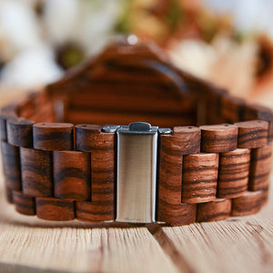 UD Personalized Multi Function Chronograph Zebra Round Wooden Watch