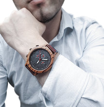 Man wearing classy wooden watch from Urban Designer.