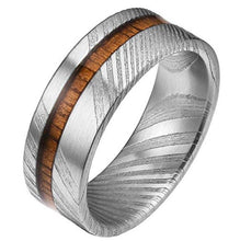 UD 8mm Mens Wedding Band with Koa Wood Inlay and Damascus Steel Pattern Ring