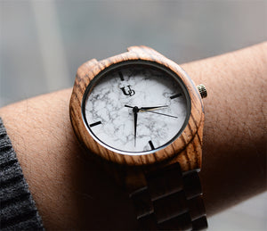 Zebra Round Wooden Watch With Real White Marble Stone Face