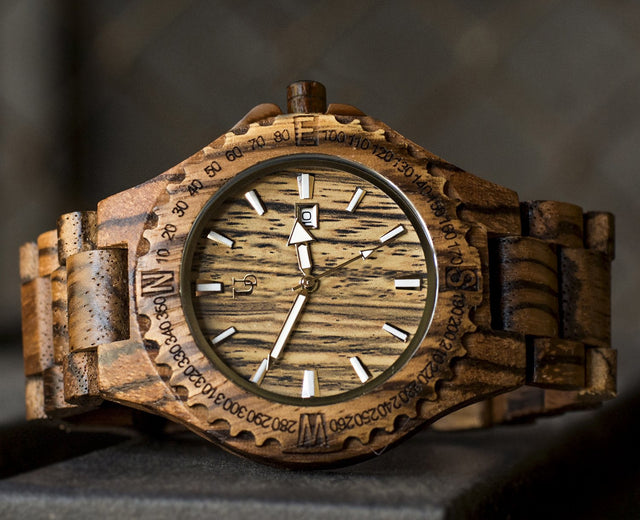 Elegant Personalized/Engraved Exotic Zebra Round Wooden Watch with Date Display