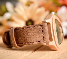 UD Wooden Watch Triangle Shape Handmade Natural Wood Genuine Leather Band