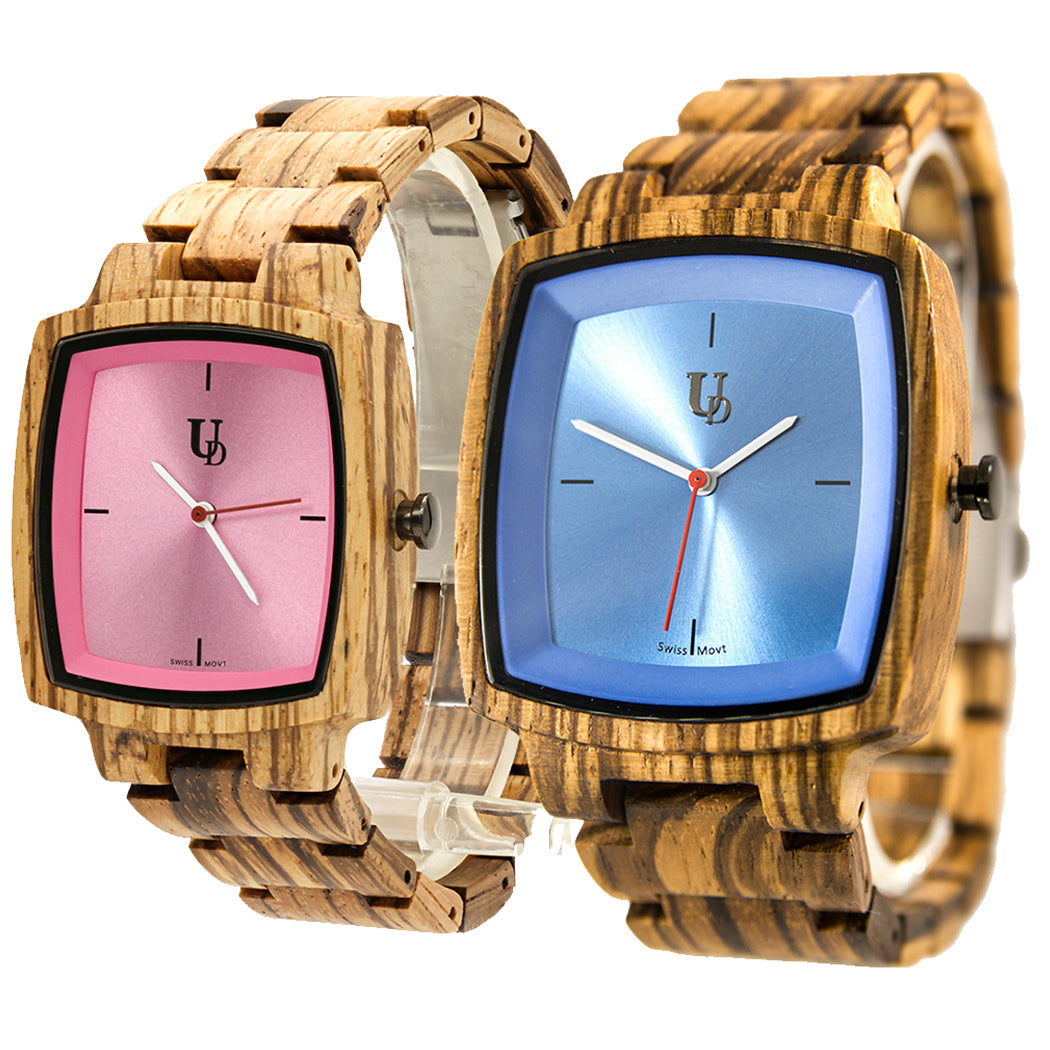 His and Hers Matching Swiss Wood Watches - Couples Wood Watch Set