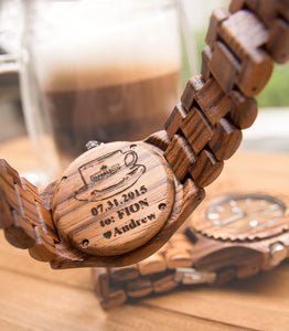 UD Personalized/Engraved His and Her Round Zebra Wooden Watches With Date Display