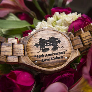 mens zebra wooden watches with engraving service