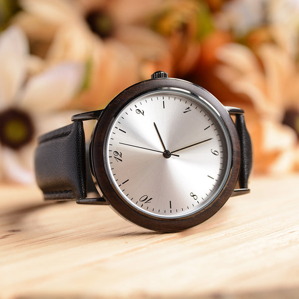 UD Classic stainless steel in silver dark wooden watch with Premium Leather band