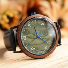 Classic Stainless Steel In Silver Olive Face Wooden Watch With Premium Leather Band