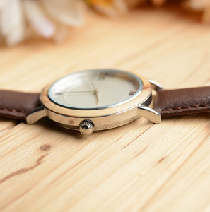 UD Classic stainless steel in silver designer wooden watch with Premium Leather Strap