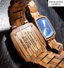 A wooden engraved watch used as a gift for son from Urban Designer.
