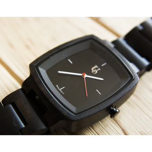 UD Minimalist Dark Square Wood Watch For Men/Swiss Movt