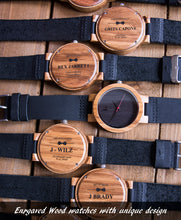 Mens Minimalist Ebony Watch Made of Wood with Genuine Leather Band